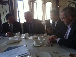 Rt. Hon Philip Lee, Lieutenant Governor; Premier Greg Selinger; Patrick Choy, Order of Manitoba; Dr. Lloyd Axworthy, President and Vice-Chancellor, UWinnipeg - in Shanghai