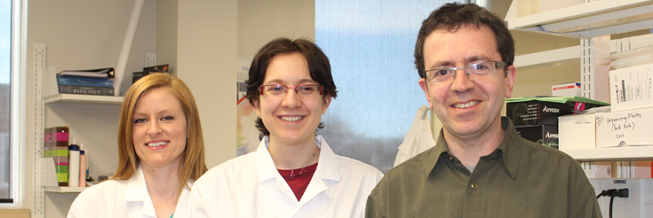 Dr. Alberto Civetta and his graduate student research team (right to left) Suzanne Gomes & Jennifer Ferguson