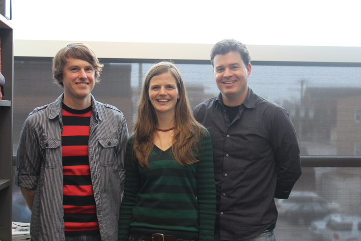 UWinnipeg's resident batman, biologist Dr. Craig Willis (right), with post-doctoral fellows, Dr. Lisa Warnecke and Dr. James Turner