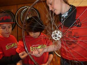(photo of Caleigh Christie in Bike Lab with Ecco-Kids)