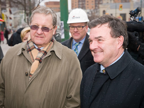 Canadian Finance Minister Jim Flaherty (right) receives a campus tour from President & Vice-Chancellor Dr. Lloyd Axworthy (left) and Dean of Science Rod Hanley (centre). Photo by Kelly Morton / uwinnipeg.ca.