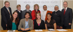 Front Row, Left to Right: FaithsActFellows Erica Spracklin, Danny Richmond, Hilary Keachie , Areeba Jawid  Back Row, Left to Right: The Rev. Dr. James Christie, Major Gillian Brown, Rabbi Roy Tannebaum The Rev. Dr. Karen Hamilton, Pundit Paul Sharma, Imam Abdul Hai Patel, Dr. Gerald Filson