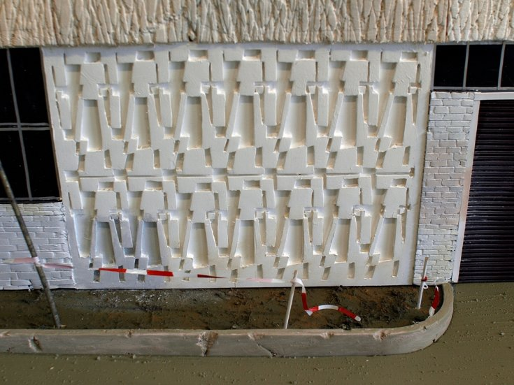 """Image: Ian August, Factory (detail), 2013, mixed media, 12"""" x 29"""" x 24"""". Courtesy of the artist."""