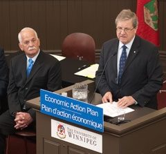 President of the Treasury Board. The Honourable Vic Toews, with Dr. Lloyd Axworthy, May 20, 2009.