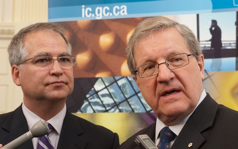 UWinnipeg President & Vice-Chancellor Dr. Lloyd Axworthy (right) and Minister of State (Science & Technology) Gary Goodyear take questions from the media at today's announcement of more than $18-million of infrastructure funding for the Richardson College for the Environment and Science Complex. Photo by Kelly Morton/uwinnipeg.ca