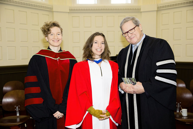 (left to right) Dr. Angela Failler, Associate Professor and Department Chair of Women's and Gender Studies; Ani DiFranco; Dr. Lloyd Axworthy, President and Vice-Chancellor, UWinnipeg.