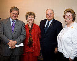 UWinnipeg President & Vic-Chancellor Lloyd Axworthy, Hon. Minister of Advanced Education & Literacy Diane McGifford, Dr. Douglas Leatherdale and UWinnipeg Foundation President and CEO Susan Thompson at June 19 Convocation Hall and Wesley Hall announcements.