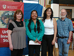from left to right: Dr. Judith Harris, Claudette Michell, Diane Redsky, Dr. Jim Silver