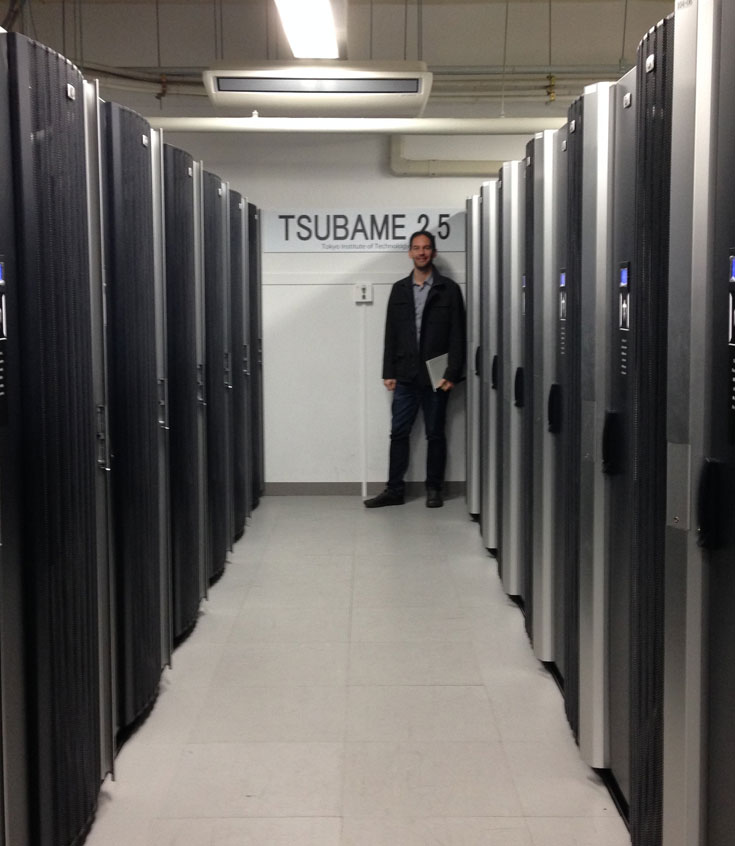 Dr. Chris Bidinosti at the Tokyo Institute of Technology's Tsubame supercomputer