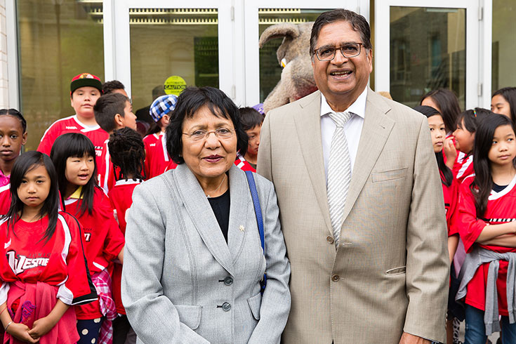 Dr. Chander Gupta and Dr. Daya Gupta, one of Manitoba's top medical families, have made a substantial donation to The University of Winnipeg which will support high quality applied health research and scholarship inside the newly named Gupta Faculty of Kinesiology and Applied Health.