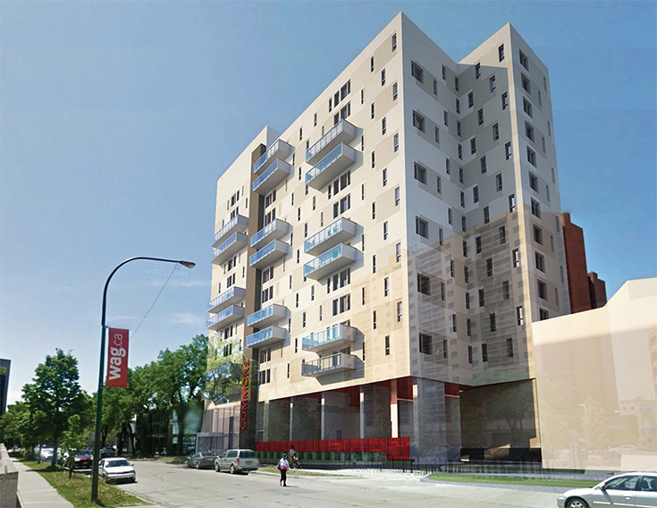 Architectural rendering of new apartment complex at 320 Colony