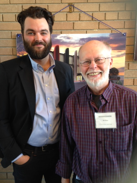 UWSA President Rorie Mcleod Arnould and Dr. Jim Silver, Chair Urban and Inner-City Studies - April 22, 2015.  UWinnipeg is instrumental in the community redevelopment of Merchants Corner.