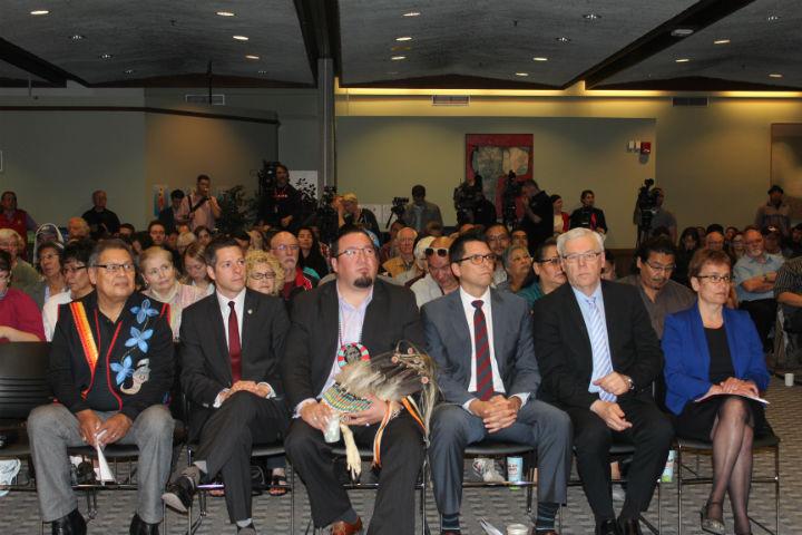 Jim Bear, Chief Brokenhead Ojibway Nation; Brian Bowman, Winnipeg Mayor; Derek Nepinak, Grand Cief Assembly of Manitoba Chiefs; Jamie Wilson, Treaty Relations Commission of Manitoba; Grey Selinger, Premier of Manitoba: Dr. Annette Trimbee, President and Vice-Chancellor, UWinnipeg