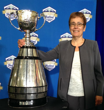 Dr. Annette Trimbee with Grey Cup