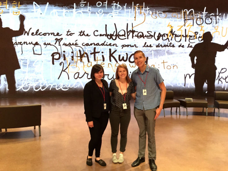 Photo: (l to r) Students Vanessa McKay, Angeline Rivard, and Jaron Hart inside the Canadian Museum for Human Rights