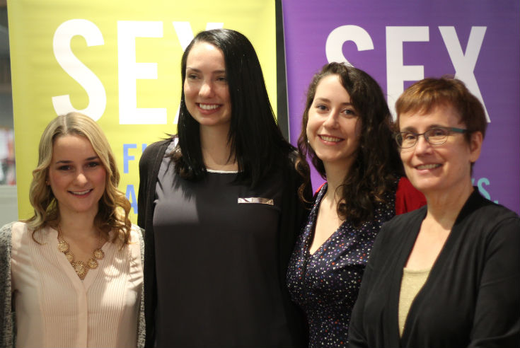 Dr. Annette Trimbee, President and Vice-Chancellor, University of Winnipeg (right) with students includingKelby Loeppky, Status of Women Director, University of Winnipeg Students' Association (centre)