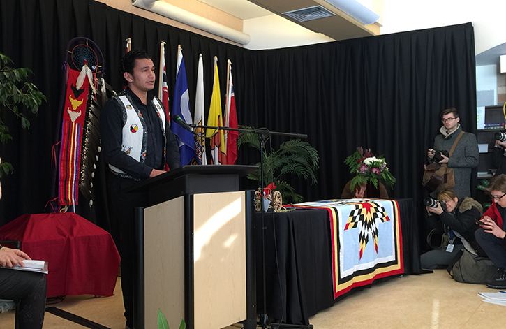 Wab Kinew speaks at the Manitoba Indigenous Education Blueprint signing