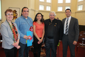 Annette Trimbee, Clayton Thomas-Muller; Melina Laboucan-Massimo.Murray Sinclair;  Jamie Wilson photo by Diane Poulin  April 5, 2016