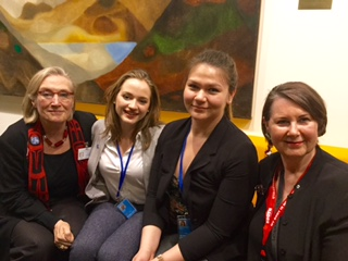 Dr. Carolyn Bennett (Minister for Northern and Indigenous Affairs, Canada), Patricia Nosal (student), Breanne Lavallee-Heckert (student), Marilou McPhedran, UWinnipeg