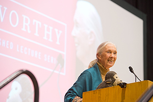 Dr. Jane Goodall lecture at The University of Winnipeg, while her stuffed chimp sits on the lecturn