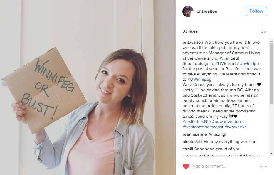 """Brittany Walton Instagram post of her holding a """"Winnipeg or Bust"""" sign"""