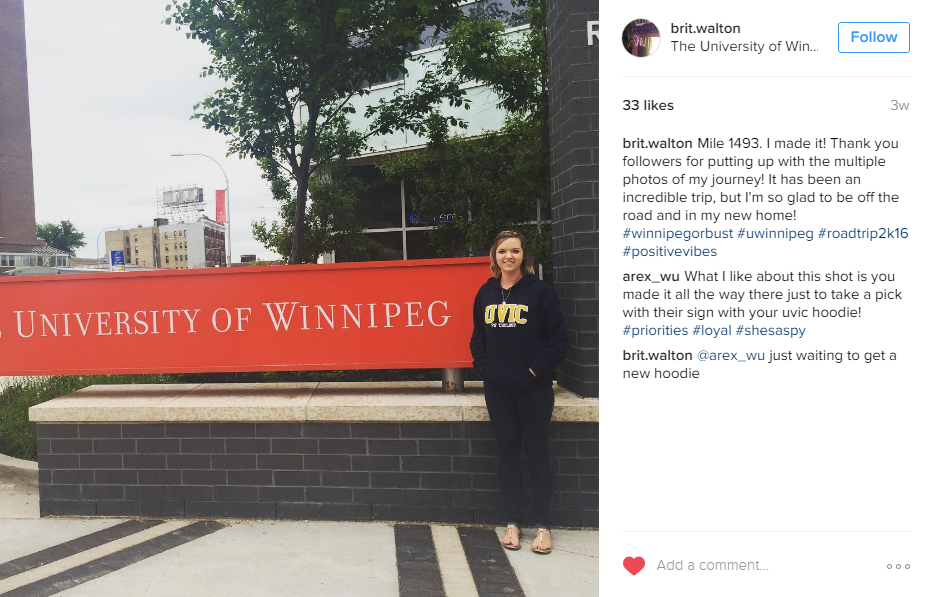 Brittany Walton Instagram post of her standing next to The University of Winnipeg sign