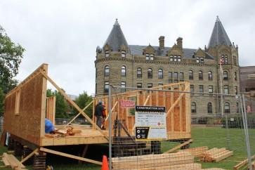 Habitat for Humanity home under construction outside Wesley Hall — © UWinnipeg