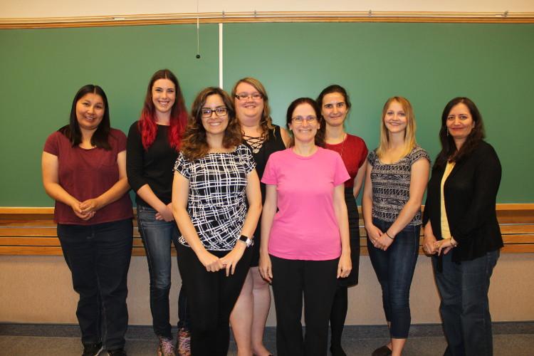 Melissa Anderson, Mary Houston, Rosie Borrough, Thalia Magyar, Taylor Hanson, Dr. Esmat Elhami — © UWinnipeg