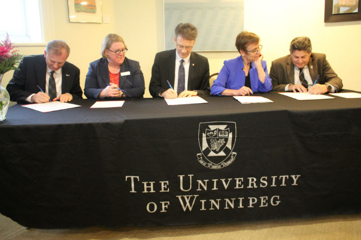 (l to r) Grant B. Christensen, Chief Operating Officer CPA Manitoba; Christine Watson, VP Academic, RRC; Paul Vogt, President and CEO, RRC; Dr. Annette Trimbee, President and Vice-Chancellor, UWinnipeg; Dr. Neil Besner, VP Academic, UWinnipeg – staff photo