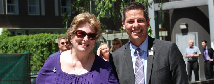 Susan Thompson + Mayor Brian Bowman, ©UWinnipeg