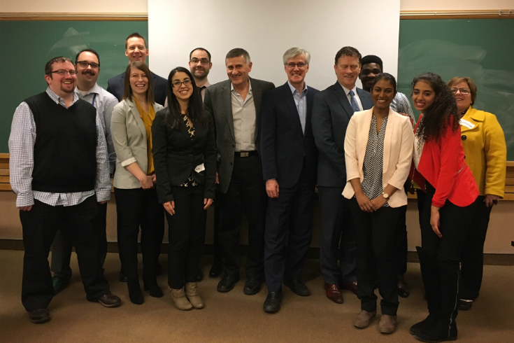 Theory and Practice of Public Administration class with Dr John Wiens, Assistant Deputy Minister Jean-Vianney Auclair, and Superintendent/CEO Kelly Barkman, leaders in the Manitoba educational governance community.