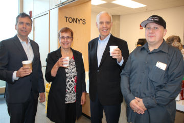 Tony's first patrons - Brian Daly, Jim Macdonald, Annette Trimbee with Randy- staff photo