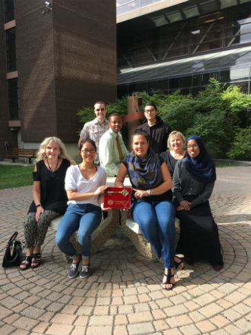 left Prof. Cathrine Froese Klassen, Patricia Joven, Francine Laurin, Bilane Osman, Ruth Dickinson, Leslie (Zuqi) Zhou, Ugonna Chigbo, Hugh Campbell.