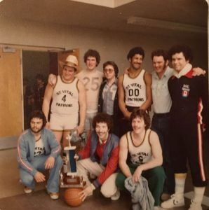 Group photo of the St. Vital Hotel Patrons with their championship trophy following their inaugural season in 1978. Photo supplied.