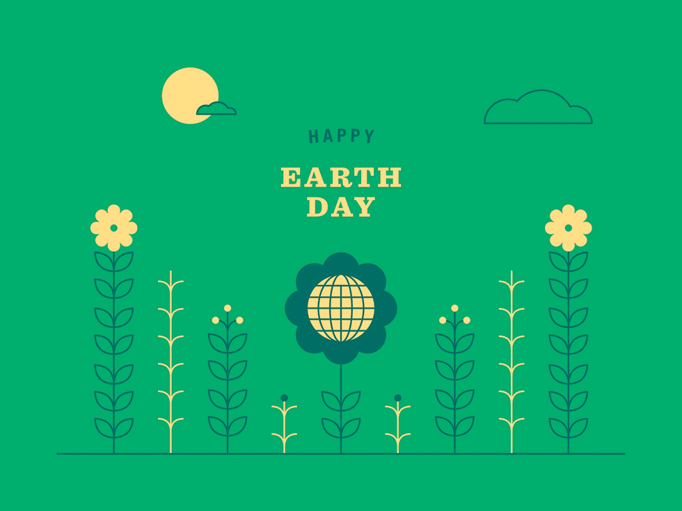 Happy Earth Day displayed on illustration of flowers and sun.
