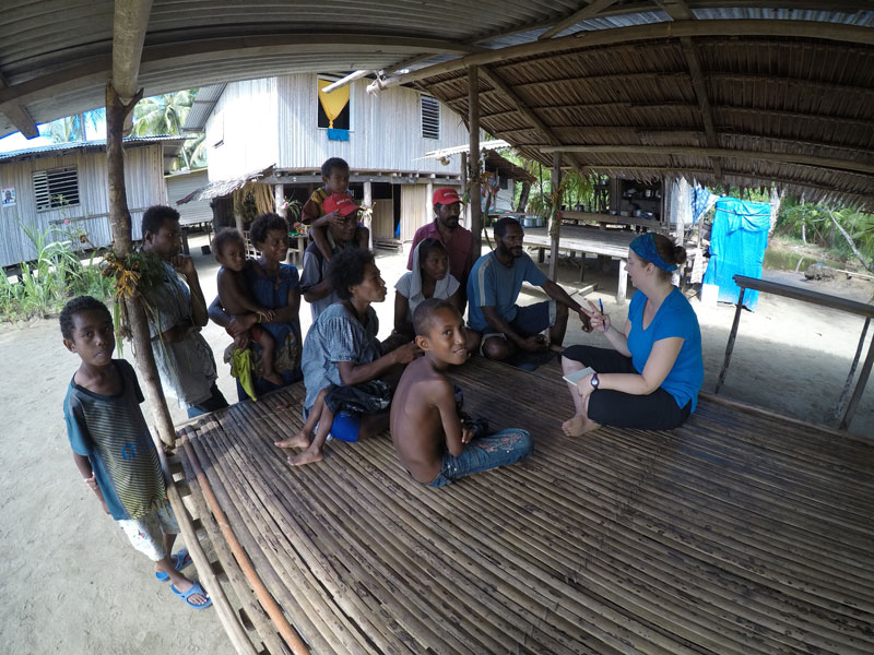 Dr. Christine Schreyer learns Kala from children in Papua New Guinea in 2017. Photo by: David Lacho