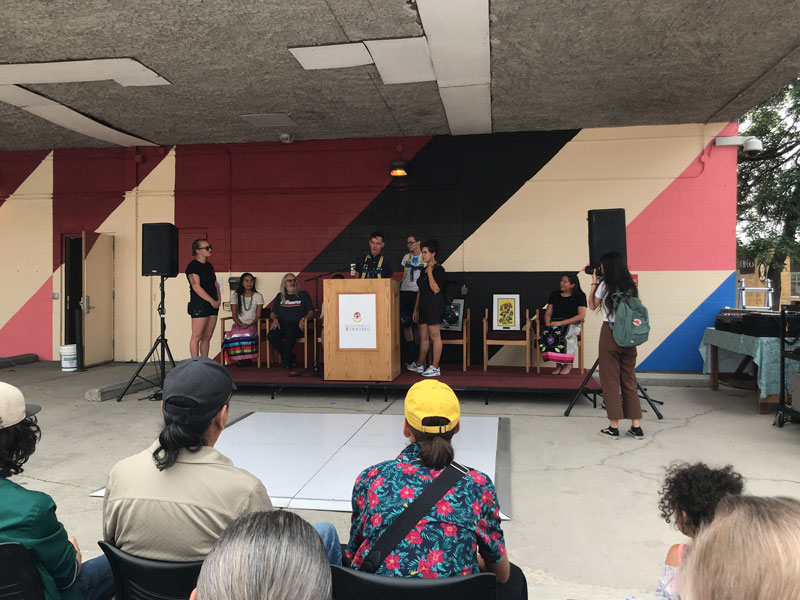 Kenneth Lavallee speaks at mural unveiling