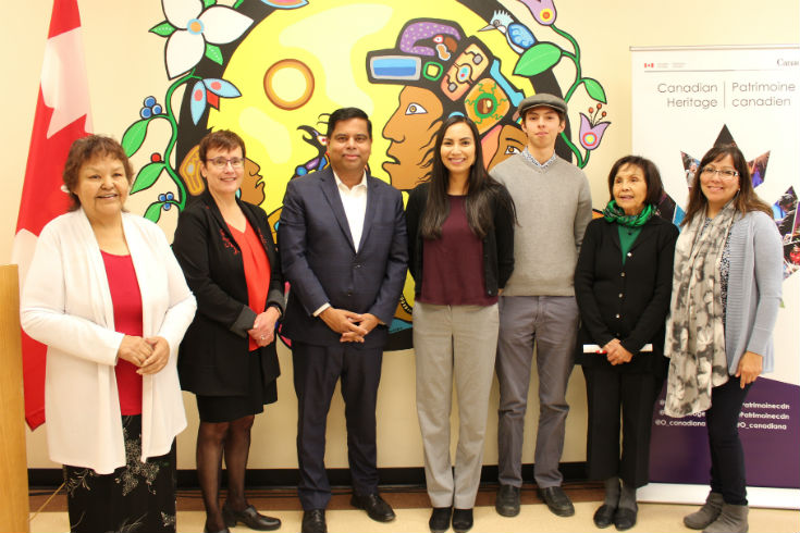 Elder Mildred Moar, President Trimbee PS Gary Anandasangaree, myself, Aandeg Muldrew, Sherri Denysuik, Indigenous Education Lead for Seven Oaks School Division, Doris Young, Advisor to the President on Aboriginal Affairs, University College of the North