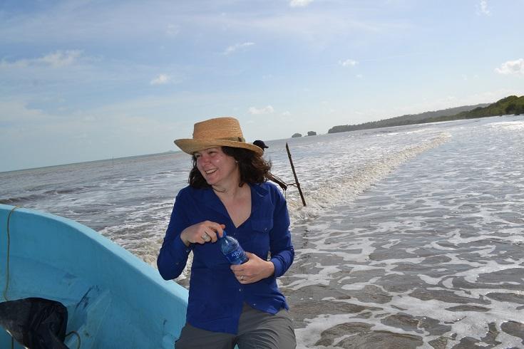 Mirjana Roksandic on panga boat