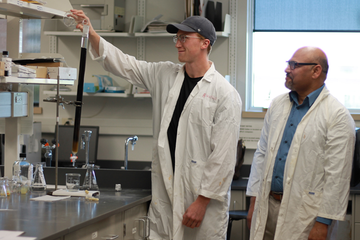 Dr. Athar Ata, in the lab with third-year BSc student, Spencer Ferbers. ©UWinnipeg