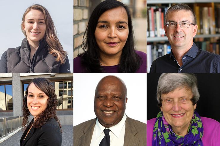 Clockwise: Danielle Nowosad, Sharanpal Ruprai, Ian Burley, Chantal Fiola, Phyllis Webster, Joseph Nnadi