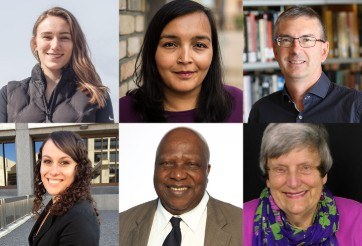 Clockwise: Danielle Nowosad, Sharanpal Ruprai, Ian Burley, Chantal Fiola, Phyllis Webster, Joseph Nnadi, ©UWinnipeg
