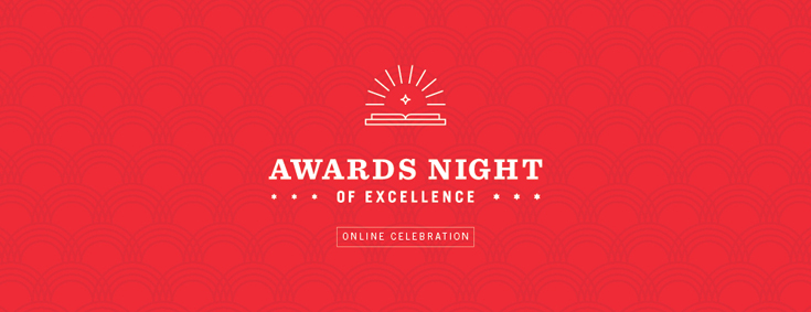 """Banner - White text """"Awards Night of Excellence"""" on red background"""