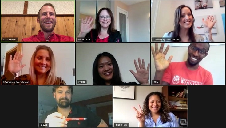 zoom room of eight recruiters smiling and waving.