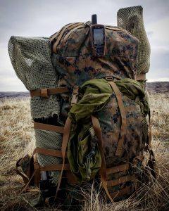 backpack in field.