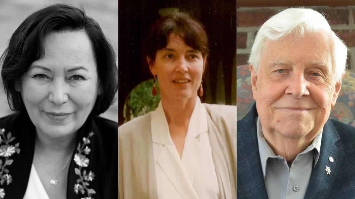 headshots of three honorary doctorate recipients.