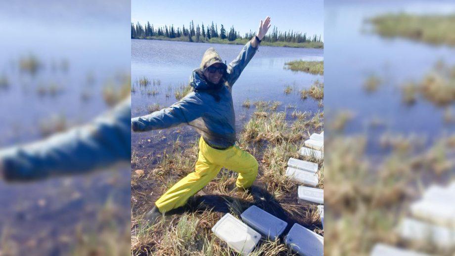 Emma Traynor doing fieldwork
